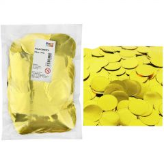 Bulk Metallic Gold Confetti 4cm (250g)  - in pack and on party table