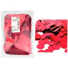Bulk Metallic Red Confetti 4cm (250g) - in pack and scattered on party table