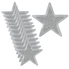 Small Silver Glitter Star Decorations (Pack of 12)