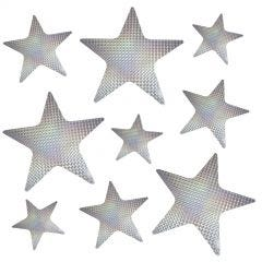 Silver Laser Star Cutout Decorations (Pack of 9)