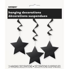 Star Hanging Decorations Black (Pack of 3)