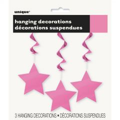 Star Hanging Decorations Pink (Pack of 3)