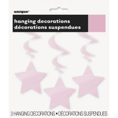 Star Hanging Decorations Light Pink (Pack of 3)