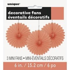 Coral Mini Tissue Paper Fan Decorations (Pack of 3)