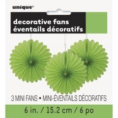 Lime Green Mini Tissue Paper Fan Decorations (Pack of 3)
