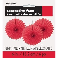 Red Mini Tissue Paper Fan Decorations (Pack of 3)