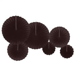 Black Paper Fan Decorations (Pack of 12)