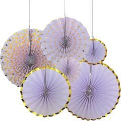 Lilac and Gold Paper Fan Decorations (Pack of 6)
