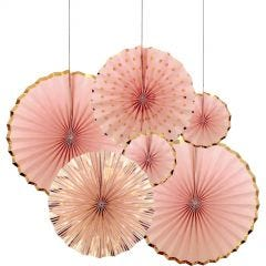 Light Pink and Gold Paper Fan Decorations (Pack of 6)