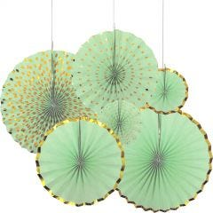 Mint Green and Gold Paper Fan Decorations (Pack of 6)