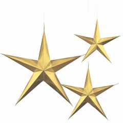 Gold Star 3D Hanging Decorations (Pack of 3)
