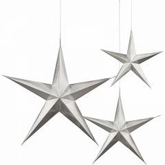 Silver Star 3D Hanging Decorations (Pack of 3)