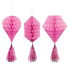 Pink Mini Tissue Paper Fan Decorations (Pack of 3)