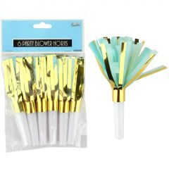 Blue and Gold Foil Party Blowers (Pack of 6)