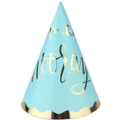 Pastel Blue and Gold Luxe Party Hats (Pack of 4)