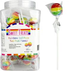 Rainbow Striped Ball Lollipops (Pack of 30)