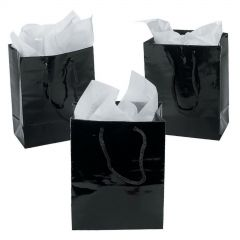 Small Black Paper Gift Bags (Pack of 12)