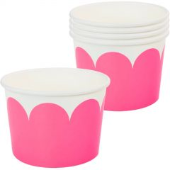 Hot Pink & White Scalloped Snack Cups (Pack of 5)