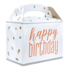 Rose Gold Happy Birthday Lolly/Treat Boxes (Pack of 6)
