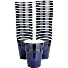 Navy Blue Plastic Cups Big Party Pack (Pack of 50)