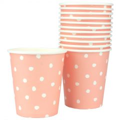 Pastel Coral and White Dot Paper Cups (Pack of 12)