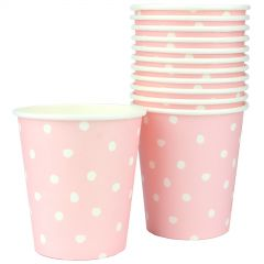 Pastel Pink and White Dot Paper Cups (Pack of 12)