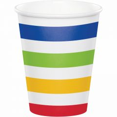 Rainbow and White Striped Paper Cups (Pack of 8)