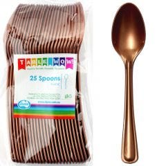 Rose Gold Plastic Spoons (Pack of 12)