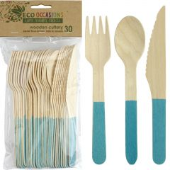Wooden Dipped Cutlery Set Blue (12 Piece)
