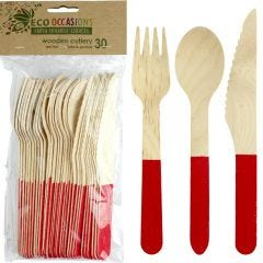 Wooden Dipped Cutlery Set Red (30 Piece)