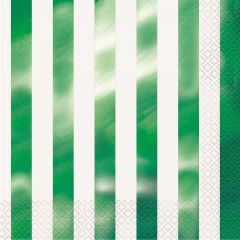 Lime Green and White Striped Small Napkins / Serviettes (Pack of 16)