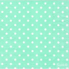 Pastel Mint and White Dot Large Napkins / Serviettes (Pack of 20)