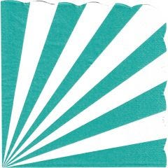 Teal & White Candy Stripe Large Paper Napkins / Serviettes (Pack of 16)