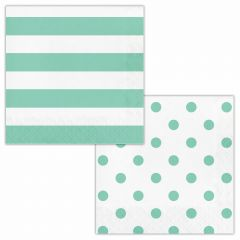 Mint Green and White Polka Dot and Striped Large Napkins / Serviettes (Pack of 16)