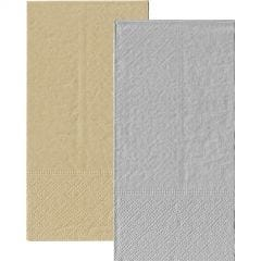 Metallic Silver and Eco Brown Napkins 1/8 GT Fold (Pack of 20)