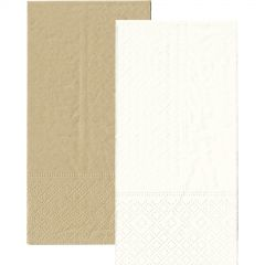 White and Eco Brown Napkins 1/8 GT Fold (Pack of 20)