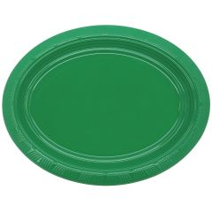 Green Oval Large Plastic Plates (Pack of 5)