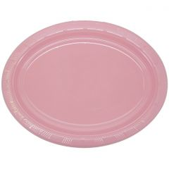 Light Pink Oval Large Plastic Plates (Pack of 5)