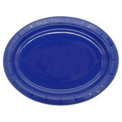Blue Oval Large Plastic Plates (Pack of 5)
