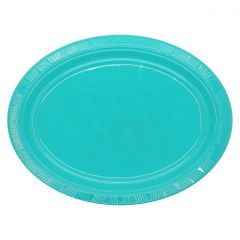 Teal Oval Large Plastic Plates (Pack of 5)