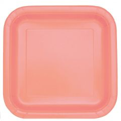 Coral Large Square Paper Plates (Pack of 14)