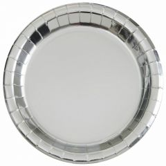 Silver Foil Large Round Paper Plates (Pack of 8)
