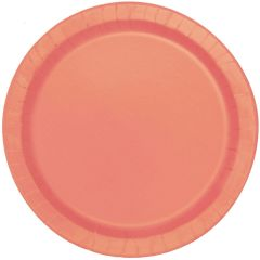 Coral Large Round Paper Plates (Pack of 16)