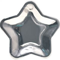 Silver Foil Star Shape Paper Plates (Pack of 8)