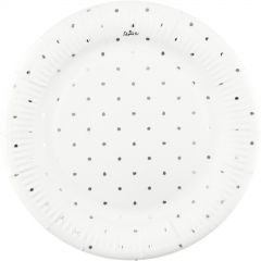 White and Silver Foil Dot Large Paper Plates (Pack of 12)