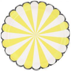 Yellow & White Candy Stripe Large Paper Plates (Pack of 8)