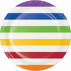 Rainbow and White Striped Large Paper Plates (Pack of 8)