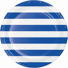 Blue and White Striped Large Paper Plates (Pack of 8)