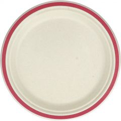 Red Rim Sugar Cane Large Plates (Pack of 10)