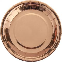 Rose Gold Foil Large Round Paper Plates (Pack of 25)